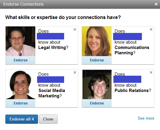 linkedin endorsements connections